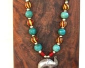RESERVED Large Whimsical Elephant Necklace w Vintage Turquoise Red Nepal Glass Beads Hill Tribe Elephant Fine Silver Colorful Ethnic Jewelry