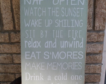 Camping Sign Custom Rustic Camping, Camper, Cabin, Lake, Cottage Rules  Sign Primitive Typography  subway sign