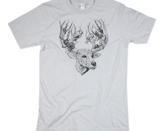 Mens Deer TShirt, Light Grey Deer Shirt, Buck, Deer art, deer illustration, Deers, Deer Shirt - Mens Tshirt - Small, Medium, Large, XL, 2XL