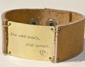 She who waits, leather and brass bracelet