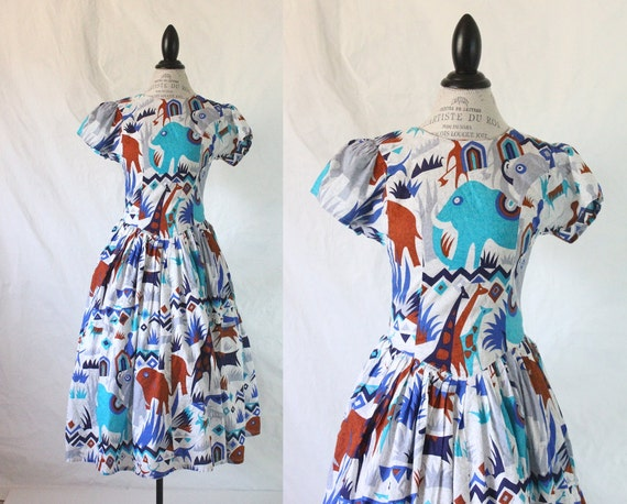 1960's Novelty Elephant Safari Print Dress Sz S