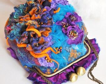 OOAK Purple Felted Bag Felt Handbag Artistic Purse Blue Nunofelt Bag Nuno felt Bead Embroidery multicolor floral fantasy Fiber Art Flowers