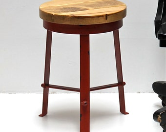 Refined Wood Top Up-Cycled Red Industrial Metal Stool Table
