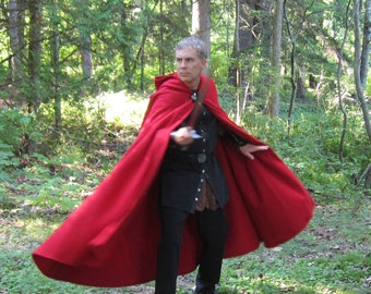 Wool Cloak - Half-Circle Cloak - Red Cloak  - Hooded Cloak - Mens Cloak - Cloak with Hood - Cloaks and Capes