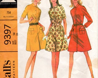 1960s Womens Shirtdress Pattern - Vintage McCall's 9397 - Bust 36