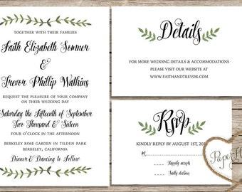 Botanical Wedding invitation set / calligraphy wedding invitations / printable invitations / printed invitations