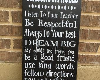 Classroom Decor ~ Classroom Rules Sign ~ Teacher Classroom Decor ~ Teacher Gifts ~ Personalized Teacher Gift ~ Back To School ~ Appreciation