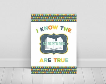 2016 LDS Primary Theme Posters-3 Large Poster Sizes Included-Sharing Time-I Know The Scriptures Are True-Printable-Mormon