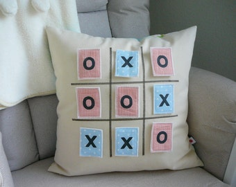 Tic Tac Toe Pillow -  Pillow Cover  - Decorative Pillow - Nursery Decor - Game - Play - Childrens Room