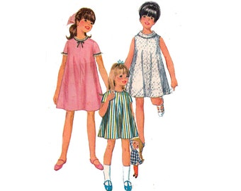 60s Girls tent Dress Pattern Simplicity 7038 Vintage Sewing Pattern Size 8 Breast 26 inches
