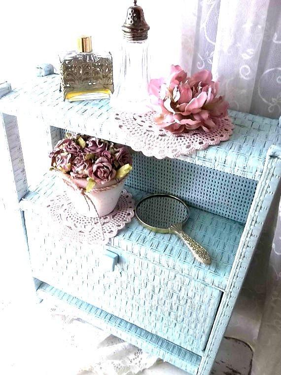 Vintage Country Bath Wicker Storage Cabinet W Towel Bar