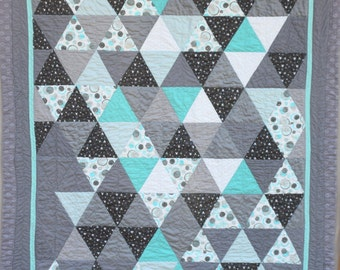 "Modern Triangles Quilt, 60"" X 79"""