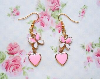 Pink Butterfly Earrings, Heart Earrings, Gold, Charm Earrings, Butterfly, Pink Heart, Cute Earrings, Fairy Kei, Lolita Earrings, Kawaii