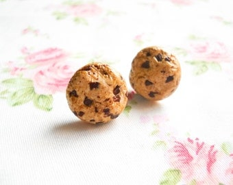 Cookie Earrings, Cookie Studs, Cookie Posts, Cute Earrings, Food Earrings, Post, Stud, Polymer Clay, Chocolate Chip Cookie, Kawaii Kei