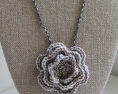 Ready to Ship Hand Crocheted Pale Gray and Pink Merino Wool Rose Necklace with Ribbon Chain