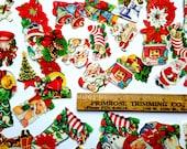 Vintage Christmas Stickers - 1950's Gummed Holiday Stationery Ephemera - Set of 50 Stickers - Santa, Stockings, Trees, Snowman - Retro Seals