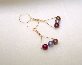 Freshwater Pearl Earrings for Women Wire Wrapped Gold Filled Triangle Earings Multi Color Earth Tone Pearl Jewelry Gift Ideas for Her