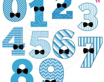 Blue Bow Tie Numbers Cute Digital Clipart, Bow Tie Boy Number Graphics, Number Clip Art, Blue Patterned Numbers, Digital Art