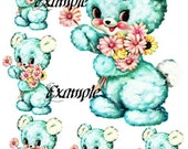 Waterslide Nursery Blue Bear Decal Sheet 8 x 10 inches Home Decor, Baby Decor,  Furniture, Walls Transfer Images 6 Images