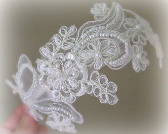 Ivory Lace Headband, Bridal Headband, Bridal Fascinator, Pearls and Sequins - JULIANA