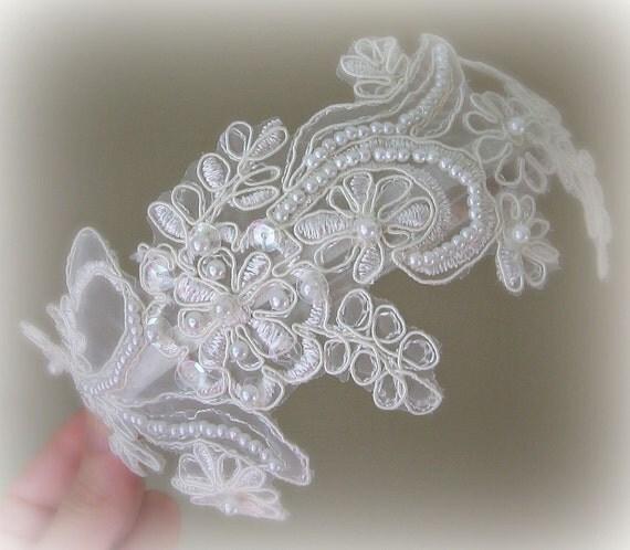 Ivory Lace Headband, Bridal Headband, Bridal Fascinator, Pearls and Sequins - JULIANA