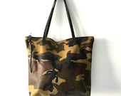 Camouflage Leather Tote Bag with zipper , large Leather Laptop bag, Green Leather carryall bag