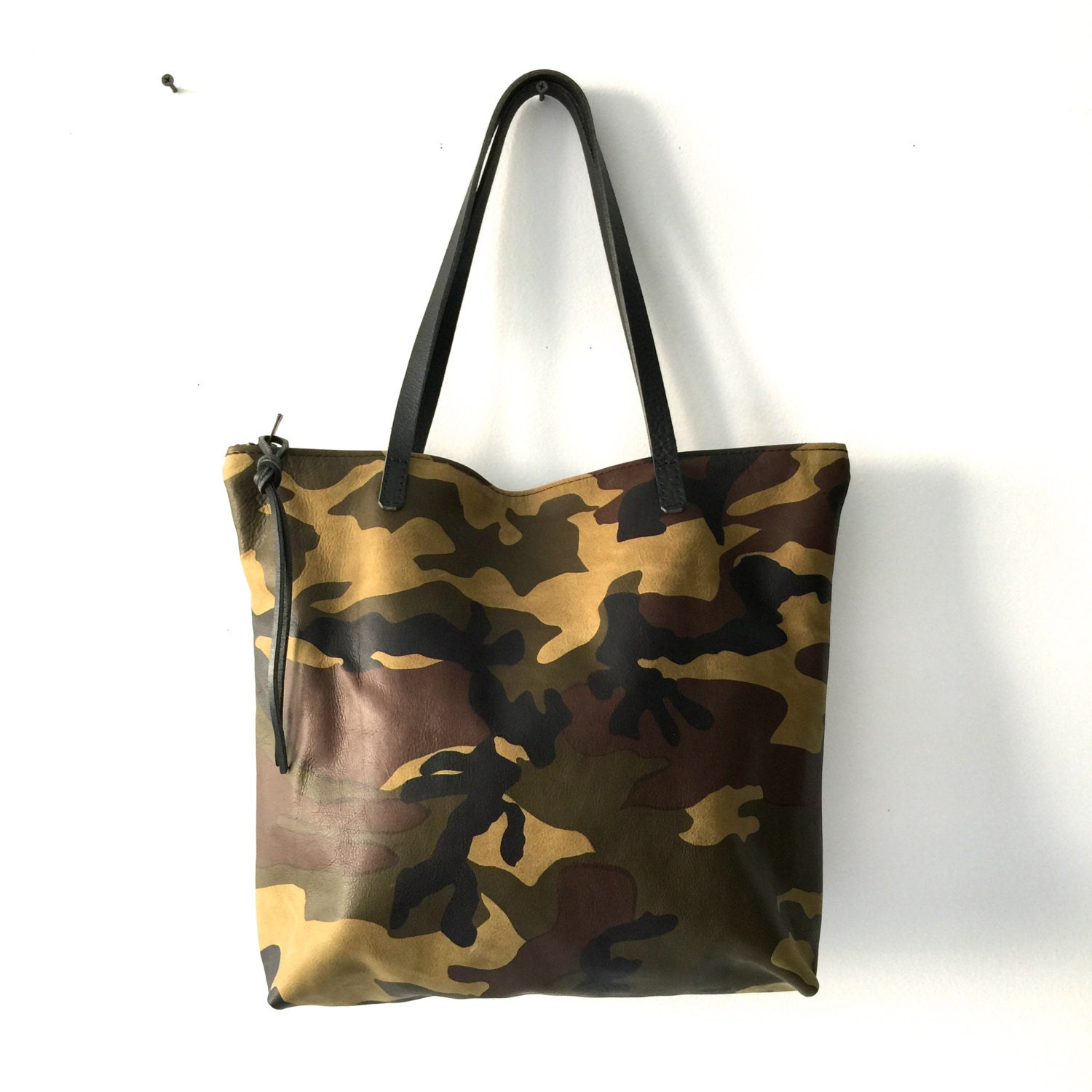 Camouflage Leather Tote Bag With Zipper Large Leather Laptop