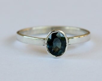 Simple Delicate .935 Argentium Sterling Silver With .75ct Unheated Natural Blue Green Sappire SZ6