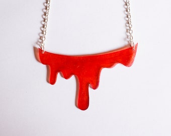 Dripping blood, dripping red paint, handmade plastic necklace, with silver metal chain, horror and Halloween jewelry.