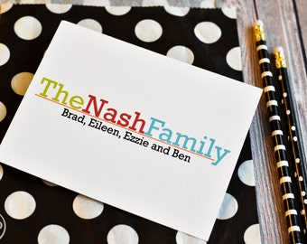 Personalized Family Notes - Personalized Family Stationery - Family Cards - Set of Notes - Family Notecards - Modern Family Stationery