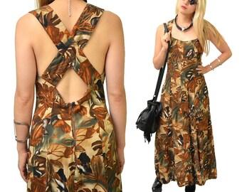 Tribal Tribulations Deep Woods Vintage Criss-Cross Maxi Dress // M