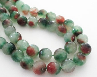 """Mix Green Brown Beads - Round Agate Beads - Faceted Agate Gemstone Beads - Side Drilled Beads - 10mm - 16""""- Diy Spring Jewelry Making"""