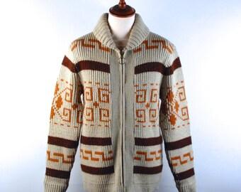 Rare 1970's Pendleton Cowichan Sweater, Big Lebowski Cardigan, Men's Medium, Great Vintage Condition