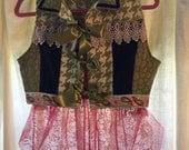 Boho Chic Chartreuse Houndstooth Jean Vest Blue Velvet Pink Leather, Chantilly n Venitian Lace, Ribbon & Velvet Trim size Small