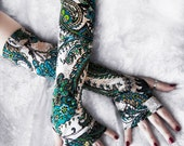 Wellspring Arm Warmers | Aqua Blue Turquoise Lime Green Beige Black White Floral Paisley Mandala | Boho Gloves Gothic Cycling Tribal Gaia