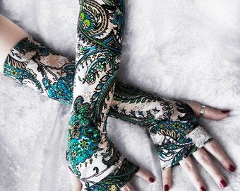 Arm Warmers | Aqua Blue Turquoise Beige Lime Green Black White Floral Paisley Mandala | Rustic Boho Gloves Cycling Tribal Gaia | Wellspring