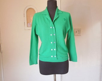 Vintage 60's Green Sweater, Long Sleeve Pullover,  Rockabilly 50's Sweater Girl Style, Women's Medium, Bust 39