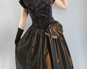 SALE - Vintage 80s does 50s Chocolate Brown Taffeta Paisley Velvet Party Prom Formal Dress