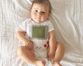 Handheld Video Game Baby Clothes, Baby Geekery, Nerd Baby Gift, Baby Shower Gift, Funny Onesie, Baby Boy Clothes, gameboy onesie