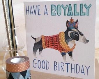 Dog Birthday card, Bull Terrier card, Royal card