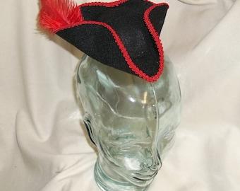 Pirate Hat Fascinator- Black and Red Mini Tricorn Hat