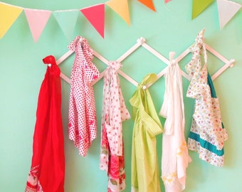 Garland Flag Bunting, Solid Colors Fabric Banner, Pennants, Coral, Mint, Yellow Wedding Decor Photo Prop, Baby Nursery Decor, Birthday Party