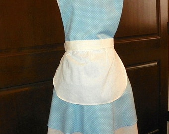 French Maid Apron Blue with White Dots Handmade for you to use during your cleaning, cooking, entertaining activities