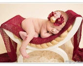 Cranberry Cordial- gold and cranberry red holiday headband