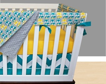 Fox Bumperless Crib Bedding, Yellow Nursery Bedding, Rail Guards Fox Woodland Forest Turquoise Teal Yellow Gray Gender Neutral Nursery Set