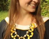 Bright Yellow and Gold Large Beaded Bib Statement Necklace, Chunky, long, Anthropologie, Circlets of Sunshine
