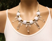 Statement Necklace, Chunky, Spikey, Neutral, Silver, Gold, Crystal, Light Weight, Adjustable, Attitude, Fractal