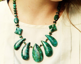 Blue Green Carved Stone Teardrop Flower Bib Necklace, Chrysocolla, Turquoise, Stone