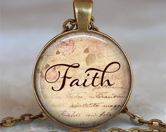 Faith necklace, Faith pendant, Faith jewelry, word jewelry, inspirational jewelry, Christian necklace, Christian pendant, keychain key fob