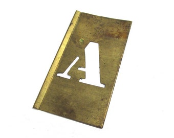 """Brass Stencil Letter A VINTAGE Brass 1"""" Letter A Scrapbooking Altered Art Assemblage Mixed Media Collage Supplies 1"""" Stencil Letter A (L64)"""